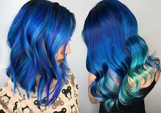 Iridescent Blue Hair Colour for Winter